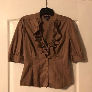 Medium brown Bebe button up top in size s